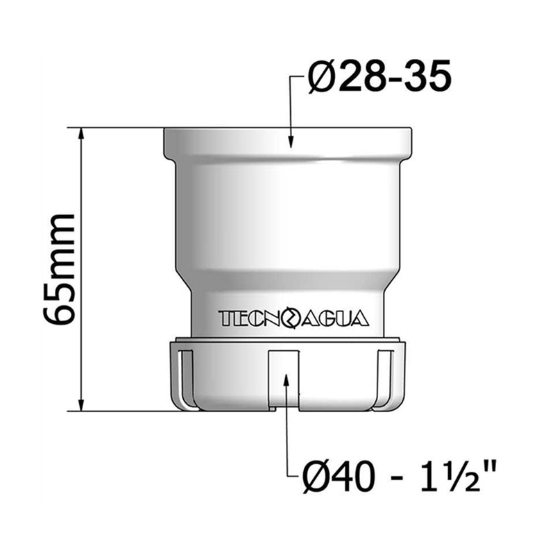 Manguito unión tubo TECNOAGUA T-30 ø 28-35 mm