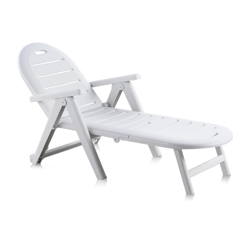 Tumbona reclinable jardín resina Shaf Caimán blanca