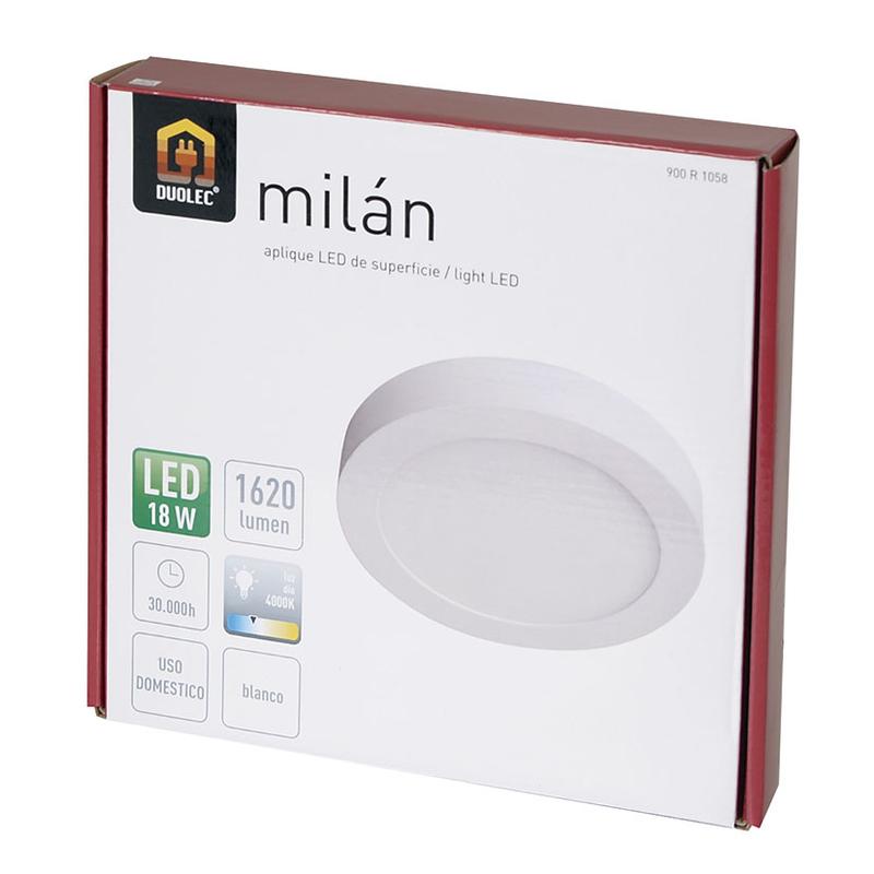 Aplique redondo superficie LED DUOLEC Milán 22,5 cm