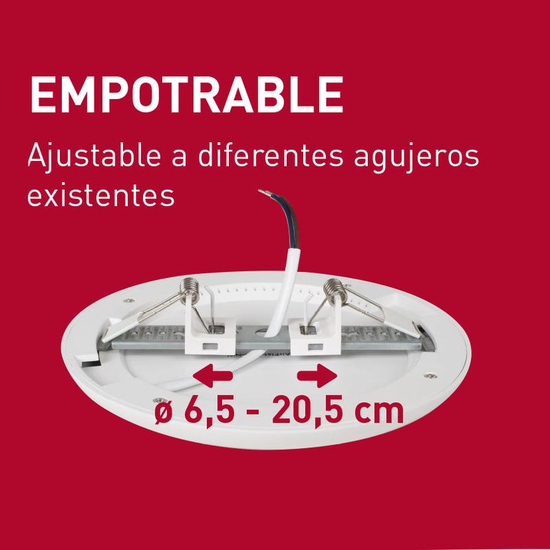 Aplique redondo empotrable LED DUOLEC dimable Genova 23 cm