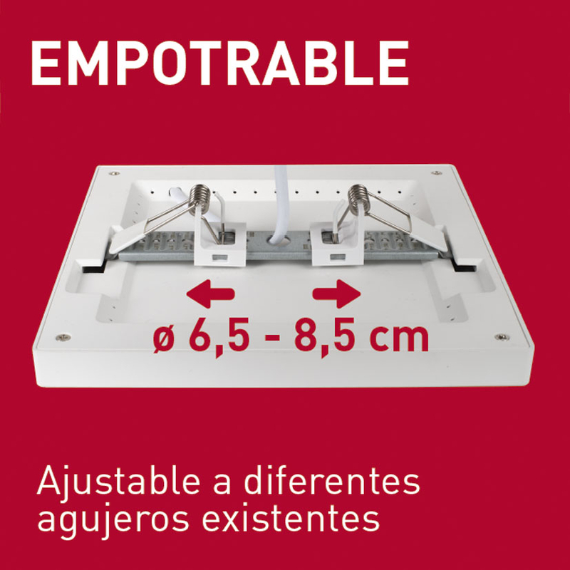 Aplique cuadrado empotrable LED DUOLEC Genova 12 cm