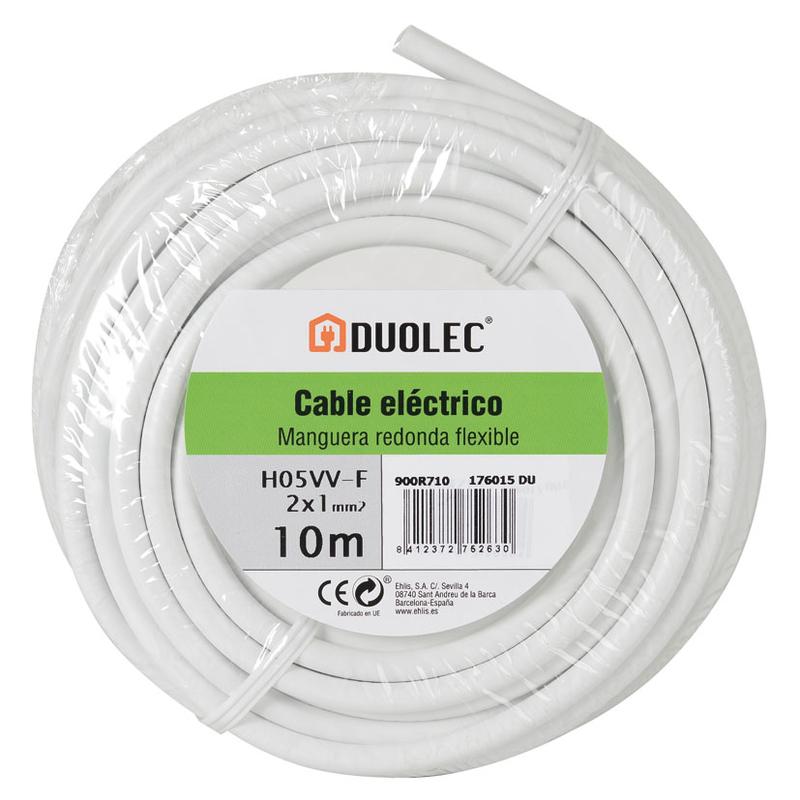 Cable eléctrico bipolar manguera DUOLEC blanco UNE H05VV-F mini rollo 10m