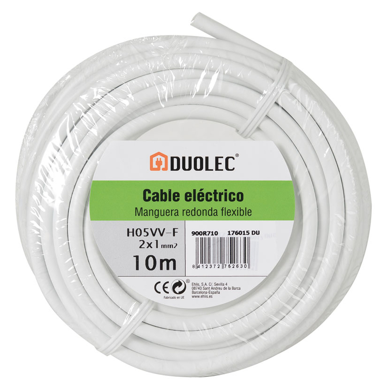 Cable eléctrico bipolar manguera DUOLEC blanco UNE H05 VVF mini rollo 25m