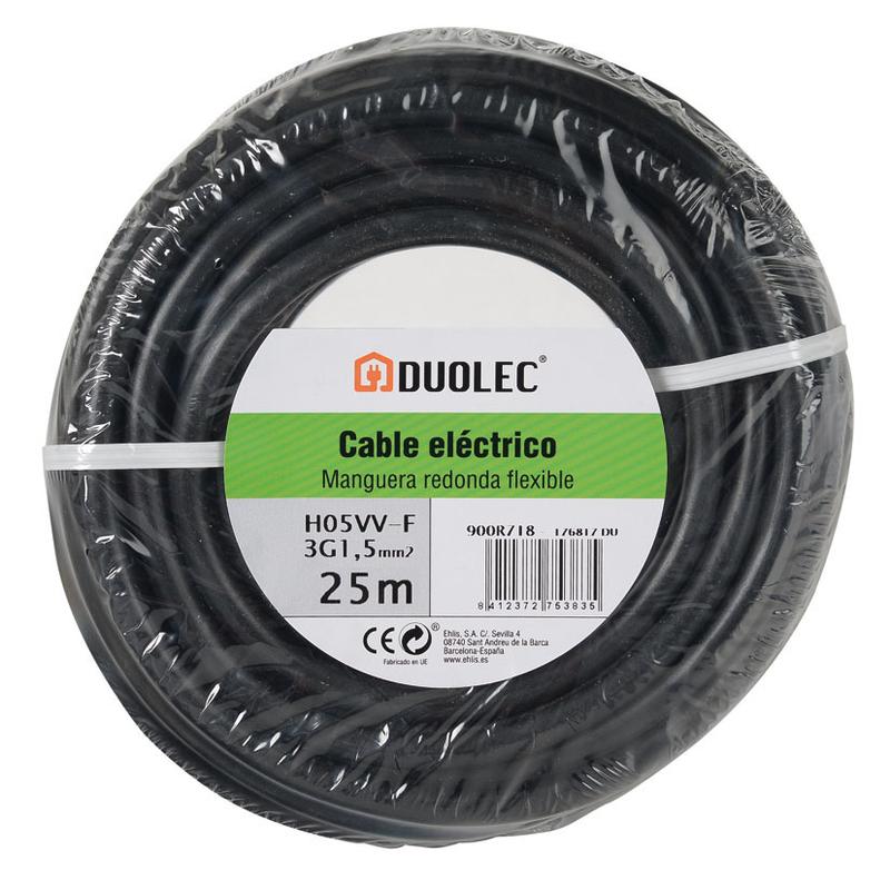 Cable eléctrico bipolar manguera DUOLEC negro UNE H05 VVF mini rollo 25m