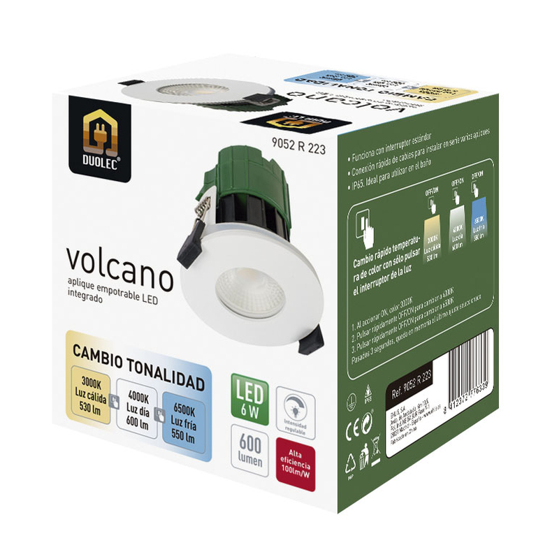 Aplique empotrable DUOLEC LED Volcano 90 mm aluminio