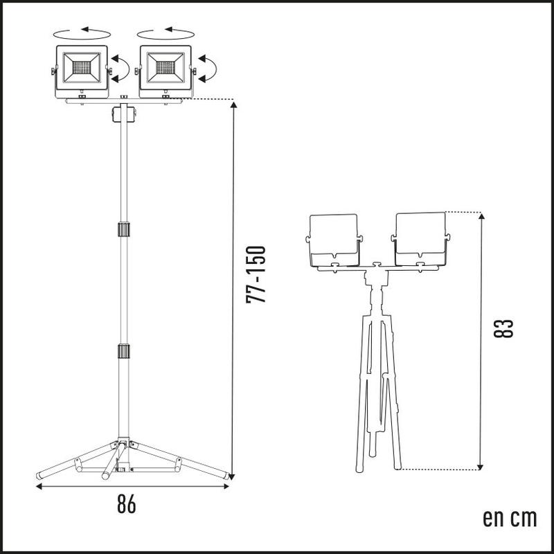 Foco proyector doble LED DUOLEC WorkLine 5000K 20W 1600 lm con trípode