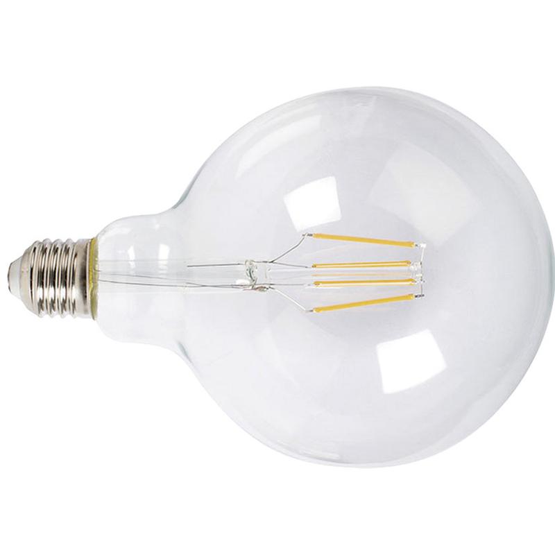 Bombilla con filamento LED globo G125 transparente DUOLEC E27 luz cálida 8W