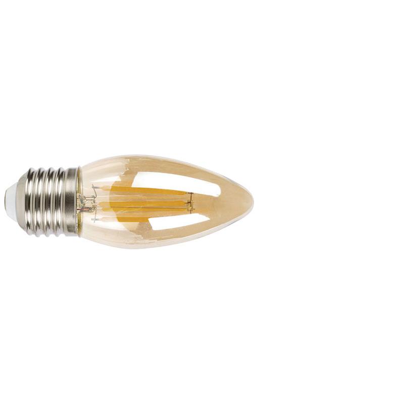 Bombilla con filamento LED vela vintage DUOLEC E27 luz cálida 4W