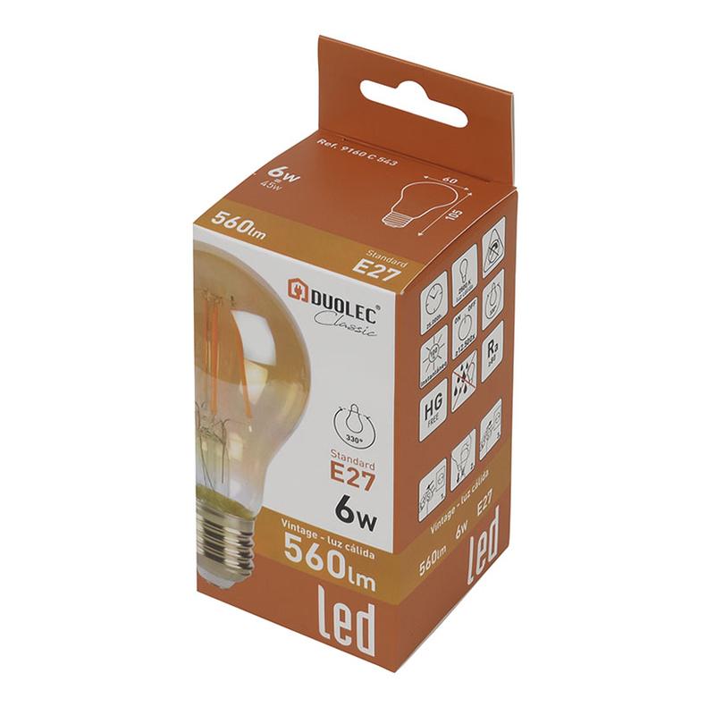 Bombilla con filamento LED estándar vintage DUOLEC E27 luz cálida 8W