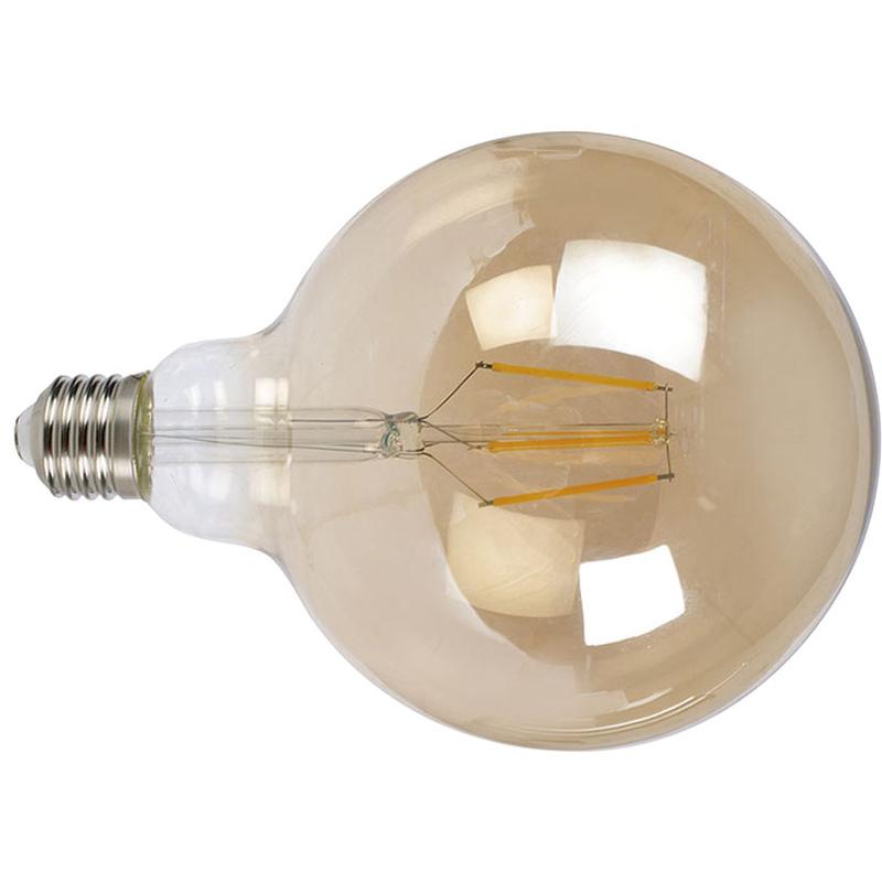 Bombilla con filamento LED globo G125 vintage DUOLEC E27 luz cálida 8W