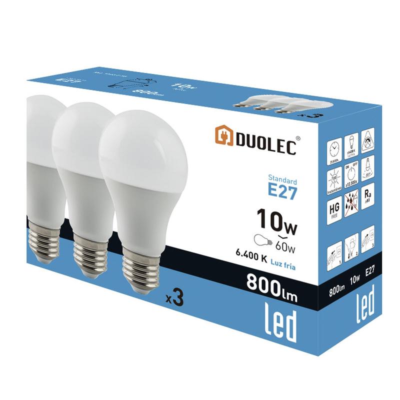 Pack 3 bombillas LED Mini Globo DUOLEC E27 luz fría 5W