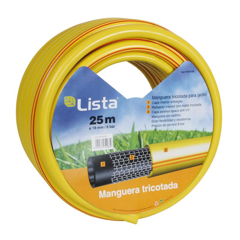 Manguera riego LISTA tricotada 3 capas diámetro 15 mm