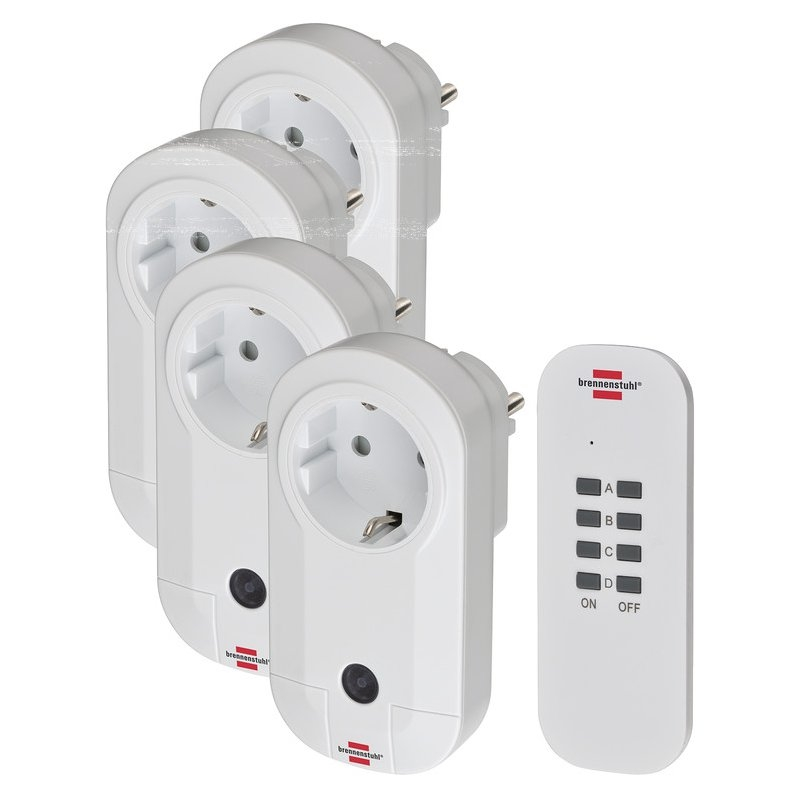 Set de 4 enchufes radio-control remoto Comfort-Line 4x IP20 Brennenstuhl