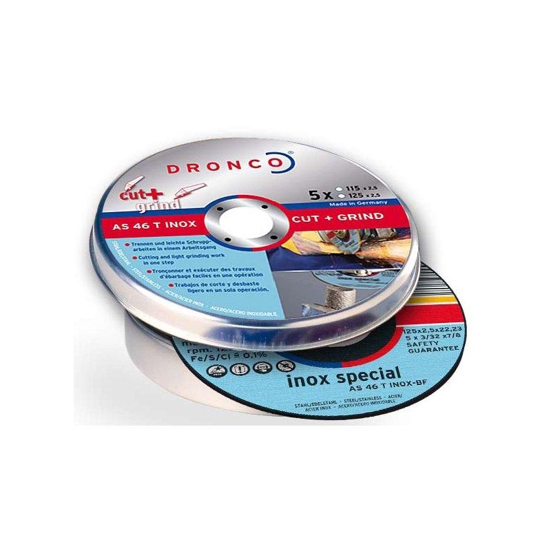 Pack de discos de corte AS 46 T INOX CUT+GRIND Special (5 uds. en caja metálica) Dronco