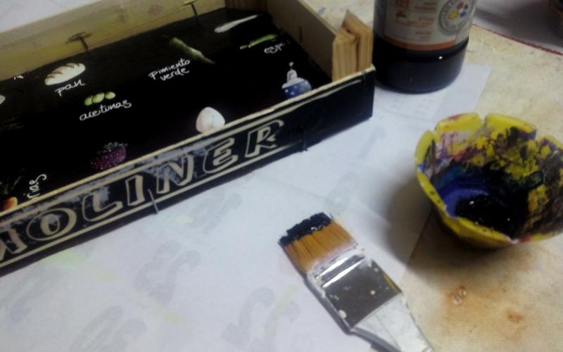 bandeja con una caja de frutas DIY paso 1