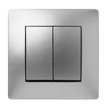 Doble conmutador de empotrar FAMATEL Habitat 15 aluminio